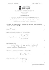 1S Degree Exam 2014 Questions