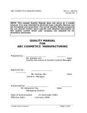 Sample of ASEAN Quality Manual