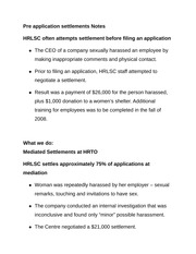 Pre application settlements Notes