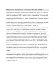 Discussion 3 Overview- Triumph of the Will