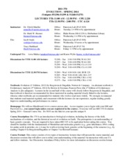 BIO370 Syllabus & CoursePolicy Spring 2014(1)