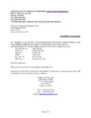 Ltr to WCAB Re Removal from OAR