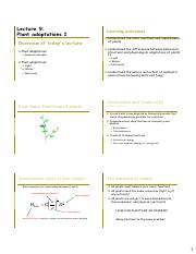 Lecture 9  Plant adaptations 1 - 6 slides pp