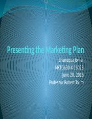 Presenting the Marketing Plan