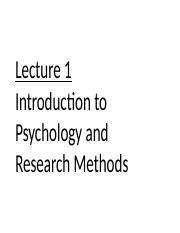 Lecture 1. Introduction to Psychology and Research Methods.ppt