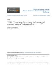 XBRL- Translating Accounting for Meaningful Business Analysis and
