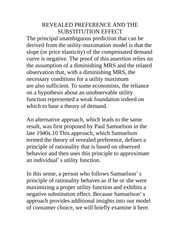 REVEALED PREFERENCE AND THE SUBSTITUTION EFFECT