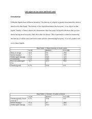 Lab report on sea water and fresh water