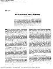 Cultural schock and adaptation