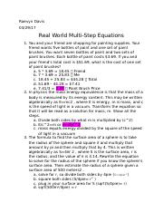 Real World Multi Step Equations