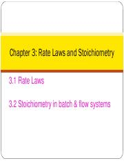 3 Rate Laws and Stoichiometry