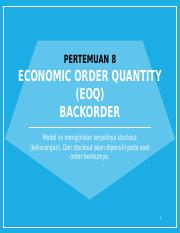 Lecture 8. EOQ With Backorder