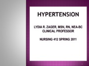 Hypertension Handout Spring 2011