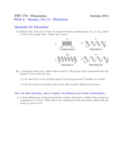 Worksheet on Momentum and Springs
