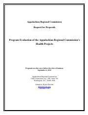 Appalachian Regional Commission Request for Proposals _Program Evaluation of the Appalachian Regiona