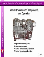 03manualtr Automotive Transmission Systems 3 Manual Components Operation Theory Support And This