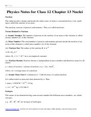 Physics Notes for Class 12 Chapter 13 Nuclei all formula download cbse board