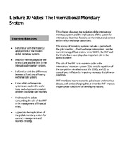 Lecture 10 Notes The International Monetary System