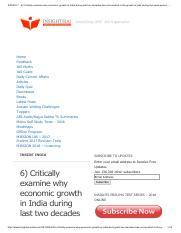 6) Critically examine why economic growth in India during last two decades has not resulted in the g