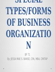 OTHER SPECIAL TYPES of organization