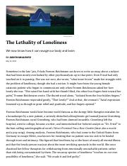 ANTH105.The Science of Loneliness How Isolation Can Kill You