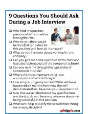 QUESTIONS TO ASK OR NOT ASK