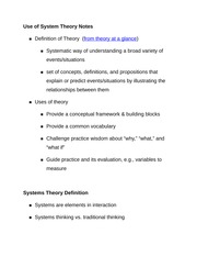 Use of System Theory Notes