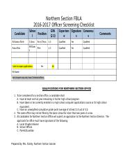 Officer Screening Checklist
