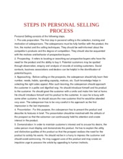 STEPS IN PERSONAL SELLING PROCESS