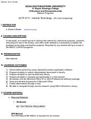 ACTP 5711 - Internet Technology