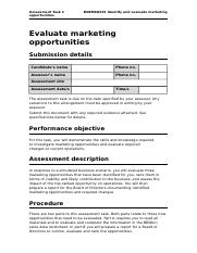 Assessment-Task-2BSBMKG501 Identify and evaluate marketing opportunities.doc