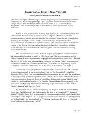 Classification Essay Assignment