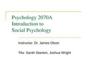 Psychology 2070a - Lecture 1