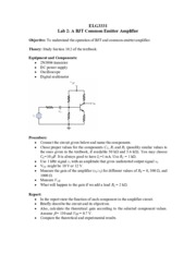 Lab 2 A BJT Common Emitter Amplifier for Introduction to Laboratory.pdf