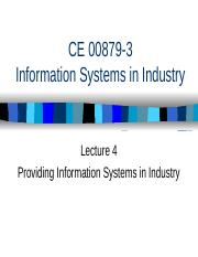 ISEiI 4 Providing Informations Systems in Industry