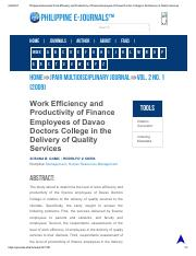 Philippine EJournals_ Work Efficiency and Productivity of Finance Employees of Davao Doctors College
