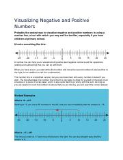 Visualizing Negative and Positive Numbers
