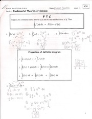 Fundamental Theorem of Calculus Outline