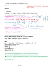 2.7 Graphs of Secant and Cosecant Functions Part 2