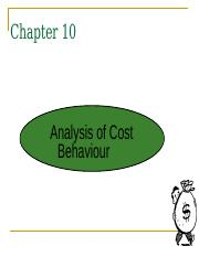 Chapter 10 Analysis of cost behaviour