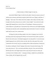 Science Fiction Essay  Pages Mother Tongue By Amy Tan Critical Analysis Essaydocx Essay On How To Start A Business also Essays On Different Topics In English Englishcomposition   In The Article Mother Tongue By  Sample Business School Essays