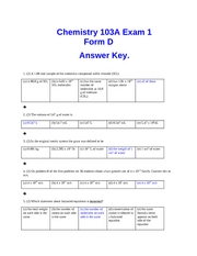 Exam 1 Form D Key fall 07CHEM103A Dr. Keller