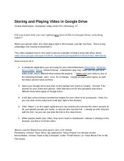 Storing and Playing Video in GoogleDocs (Recovered)