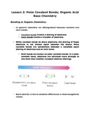 Lecture Notes Lesson 2- Polarity, Resonance, Acid-Base