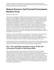 Human Resource And External Environment Business Essay