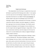charlemagne essay   taylor brean  einhards life of  charlemagne essay   taylor brean  einhards life of charlemagne when  reading einhards life of charlemagne it is important that we keep in mind