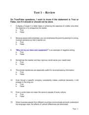 Fundamentals Sample Test POSTED COPY--NO ANSWERS Revised Spring 2007--Txt Msg Added & Ltr Format