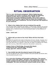 ritual observation project