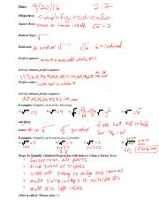 SM2 2.2 simplifying radicals notes filled in