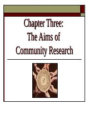 Ch 3 - Aims of Community Research